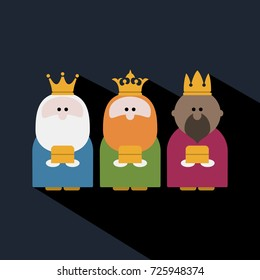 Three Kings on Epiphany day and a dark background
