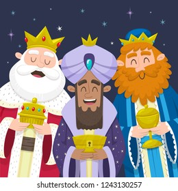 Three kings of Orient. Funny portrait of Three Wise Men. Melchior, Gaspard and Balthazar smiling and bringing presents for Jesus. Vector illustration.