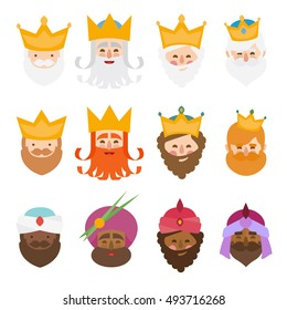 The three kings of orient isolated. 3 magi. 12 icons vector set