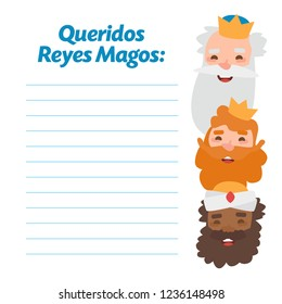 The three kings of orient, Melchior, Gaspard and Balthazar. Funny vectorized letter. Dear wise men written in Spanish