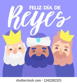 The three kings of orient, Melchior, Gaspard and Balthazar, on a purple background. Christmas vectors. Happy Epiphany written in Spanish
