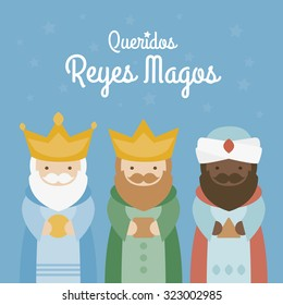 the three kings of orient on a blue background. 3 Magi