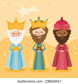 the three kings of orient on a yellow background
