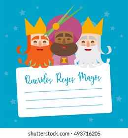 The three kings of orient. vectorized letter. Dear wise men written in Spanish