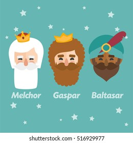 The three Kings of Orient, wise men, 3 magi icons vector turquoise set. Melchior, Caspar and Balhazar written in Spanish