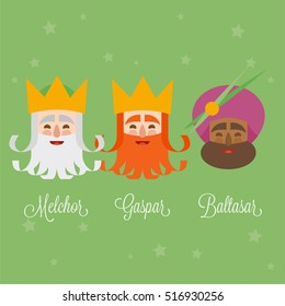 The three Kings of Orient, wise men, 3 magi icons vector green set. Melchior, Caspar and Balthazar written in Spanish