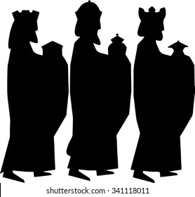 Three kings or three wise men. Christmas nativity vector illustration.