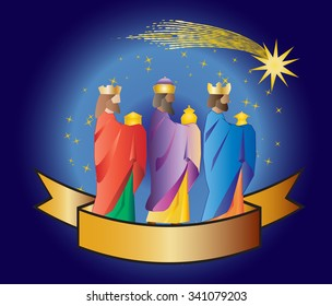 Three kings or three wise men with a star and a ribbon. Christmas nativity vector illustration.