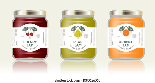 Three labels fruit jam. Cherry, pear, orange jam labels and packages. Three packaging. Premium design. The flat original illustrations and texts on the minimalist labels on the jars with caps.