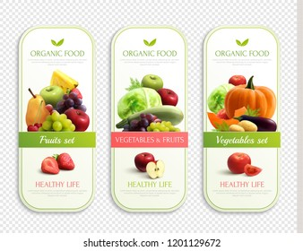 Three labels on theme of organic food for healthy life with fruits and vegetables set on transparent background realistic vector illustration