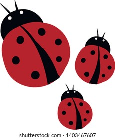 Three lady bug in different shapes which are flat , vector, color drawing or illustration.