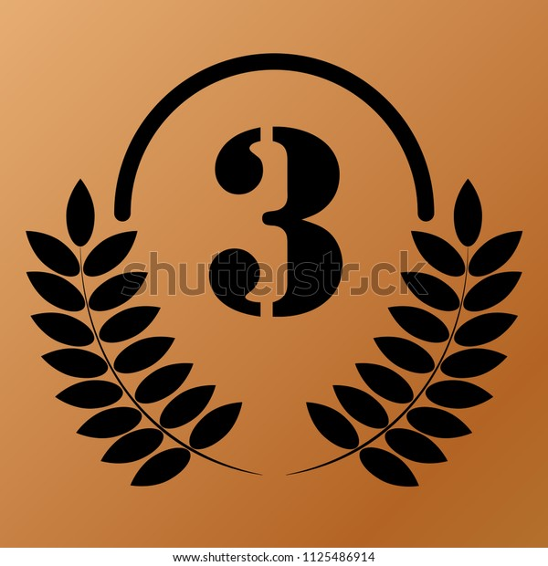 Three In a Laurel Wreath on bronze background