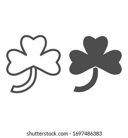 Three leaf clover line and solid icon. Irish shamrock plant leaf outline style pictogram on white background. Floral Saint Patrick signs for mobile concept and web design. Vector graphics