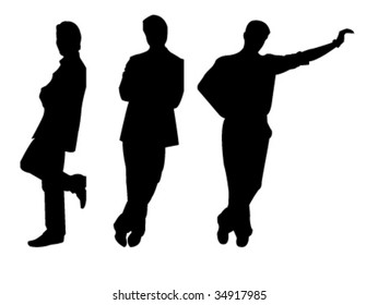 three leaning men silhouettes