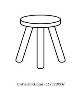 Three legged stool outline icon. Clipart image isolated on white background