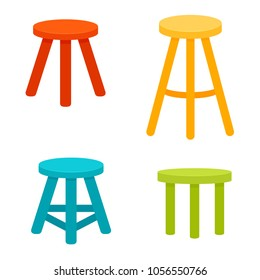 Three legged stool set. Vector image isolated on white background