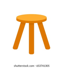 Three legged stool. Vector image isolated on white background