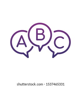 Three linear chat speech message bubbles with ABC letters. Questionnaire, faq or test Concept icon. Stock vector illustration isolated on white background.