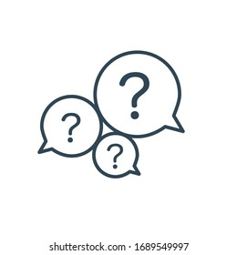 Three linear chat speech message bubbles with question marks. FAQ or Forum icon. Communication concept. Stock vector illustration isolated on white background.