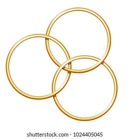 Three linking metal rings for showing magic trick. Equipment performance circus show. Vector illustration EPS 10
