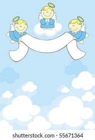 three little angels with ribbon banner on clouds background