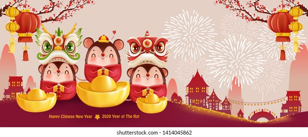 Three little animals holding gold and Chinese characters. Zodiac symbol of the year 2020 Chinese New Year The year of great success Greetings from Golden Rat. Vector illustration