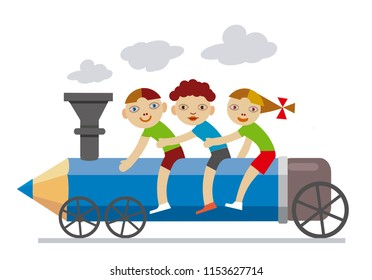 Three little children riding locomotive pencil. Illustration of Three Happy smiling friends,little children on locomotive pancil. The concept of holiday ending. Vector available.