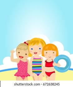Three little girls on beach