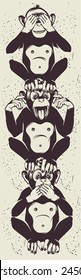 Three little monkeys totem vector