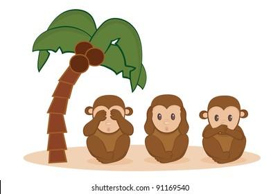 Three Little Monkeys vector