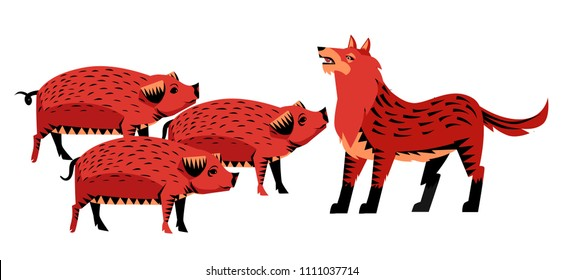 three little pigs and big bad wolf