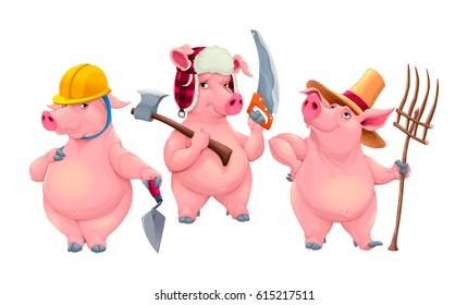 Three little pigs. Cartoon vector isolated fairytale characters.
