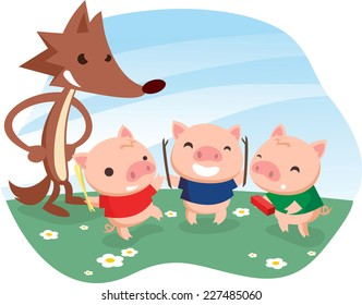 Three little pigs fable with cartoon wolf.