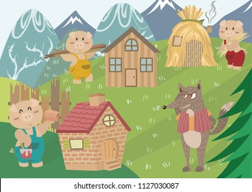 The Three Little Pigs. Fairy tale illustration. Cartoon vector for fairy tale story and book. The three little pigs and wolf with pastel background.
