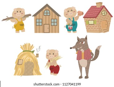 The Three Little Pigs. Fairy tale illustration. Cartoon vector for fairy tale story and book. The three little pigs and big bad wolf characters isolated on white background.