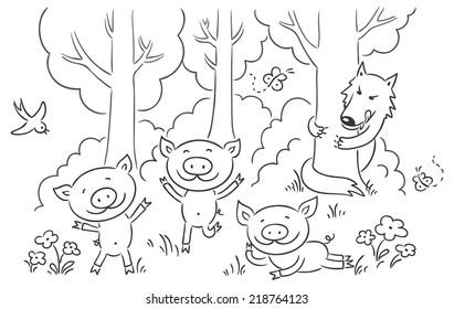Three little pigs fairy tale, no gradients
