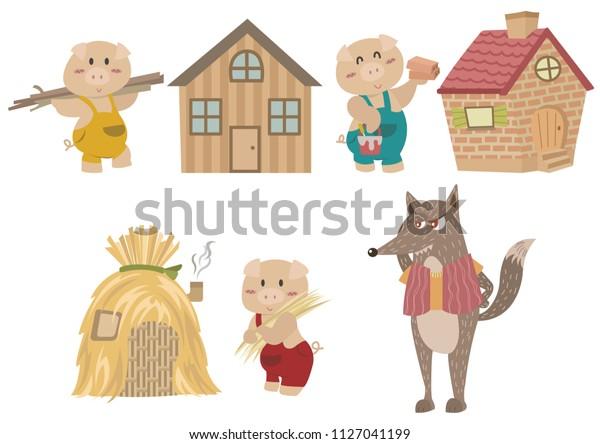 Three Little Pigs Fairy Tale Illustration Stock Vector