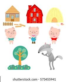 Three little pigs on white background,vector illustration