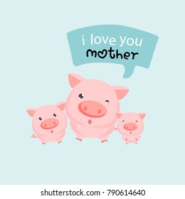 Three little pigs says i love u mother. Happy mother's day.