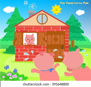 The three little pigs, scared piglets running to bricks house