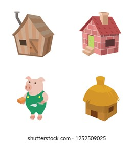 Three little pigs vector icons