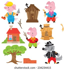 Three little pigs vector illustration