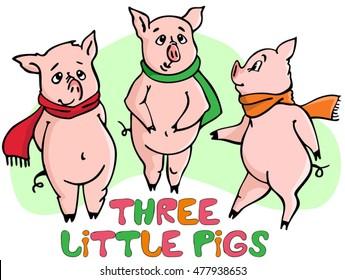 Three little pigs. Vector illustration.