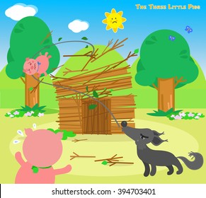 The three little pigs: wolf destroys the sticks house