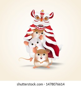 Three Little Rats performs Chinese New Year Lion Dance together. Isolated.