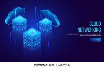 Three local servers connected with cloud server between emerging shiny digital rays 3D illustration for Cloud Networking landing page or web template concept.