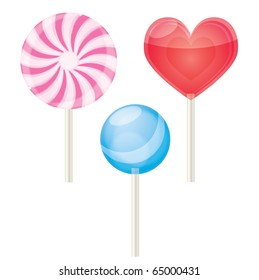 Three lollipops on a isolated background,vector