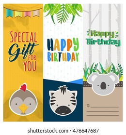 Three lovely birthday banners with cute animals and text in vector for stickers, bookmarks and different kinds of childish accessories. Vertical orientation.