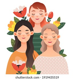 Three lovely girls with closed eyes in flowers.