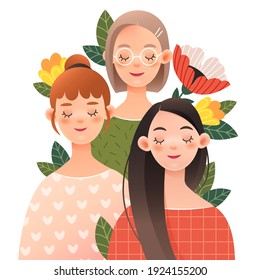 Three lovely girls with closed eyes in spring flowers.